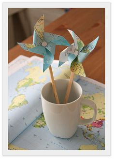 simple map diy- made my first pinwheel- definitely more intimidating to look at than they are to make- super simple...