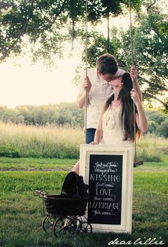 Baby Announcement | Josh and Jamie sitting in a tree, KISSING, first comes love, then comes marriage, then comes.... --- http://tipsalud.com -----
