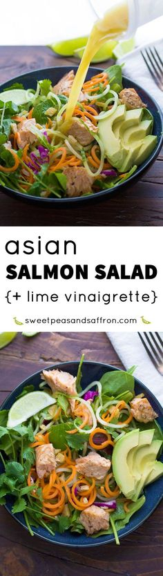 Asian Salmon Salad with Candied Ginger and Lime Vinaigrette, a healthy gluten-free dinner recipe that's ready in 30 minutes!