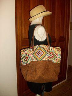 Sac cabas ethnique en suédine et coton , anses en cuir : Sacs à main par cocoon-by-ln