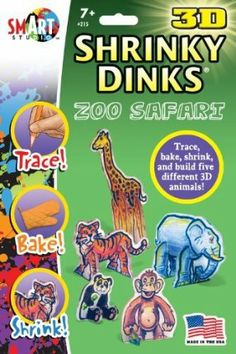"""Zoo Safari Shrinky Dinks in 3D by BSW Toy. $9.05. Shrinky Dinks Meet 3-D!. Fun Birthday Party Activity. Great Imaginative Play Project. Made in the USA. Trace, Bake and Shrink. Get more fun out of your Shrinky Dinks - turn them into 3-D projects! Each package contains 10 5"""" x 8"""" sheets of the amazing shrinking plastic, along with baking instructions and a 2-sided tracing sheet filled with unique drawings so you can trace, cut out, bake, shrink, and then assemble into ..."""