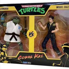 #PlaymatesToys #TeenageMutantNinjaTurtles x #CobraKai Figure 2-Packs #TMNT Miguel Diaz, Teenage Mutant Ninja Turtles, Tmnt, Kai, Comic Books, Comics, Character, Cartoons, Cartoons