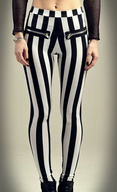 L.A. Roxx - wide black and white stripes legging with zipper exposed.. $45.00, via Etsy.  http://www.etsy.com/shop/laroxxhollywood