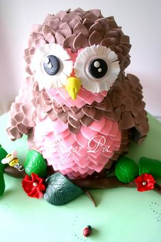 Pin for Later: Fabulous and Unique Birthday Cakes For Kids Pink and Brown Owl Cake Baby Cakes, Owl Cakes, Cupcake Cakes, Diy Cupcake, Cute Cakes, Pretty Cakes, Beautiful Cakes, Amazing Cakes, Beautiful Owl