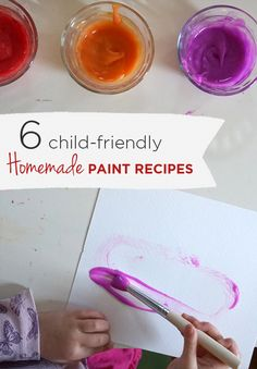 6 Favorite Homemade Paint Recipes for Kids  |  TinekerLab.com Arts And Crafts Projects, Projects For Kids, Diy For Kids, Crafts For Kids, Kids Fun, Fun Crafts, Homemade Paint, How To Make Homemade, Homemade Toys
