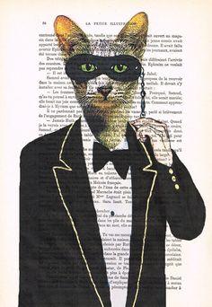 Party Cat: Art Poster Digital Art Original by Cocodeparis on Etsy