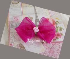 Hot Pink Sheer Boutique Style Dog Bow with a Light by AngelzBowz, $4.99