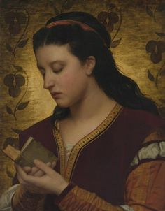 LARGE SIZE PAINTINGS: Attilio BACCANI Lady Reading a Book 1876