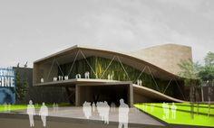 AQSO auditorio sin doblez, entrada principal, pliegue de hormigón blanco