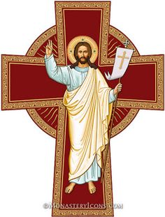 Icons magnets such as this Risen Christ Cross Magnet, can go just about anywhere with you! Shop icons of Christ magnets at Monastery Icons today. Christ Is Risen, Christ The King, The Cross Of Christ, Religious Images, Religious Icons, Religious Art, Croix Christ, Monastery Icons, The Good Shepherd