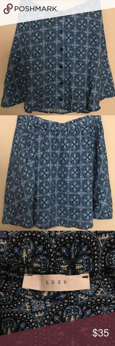 Lush Blue Floral Skater Skirt Lush Blue Floral Skater Skirt. EUC. Lush Skirts Mini