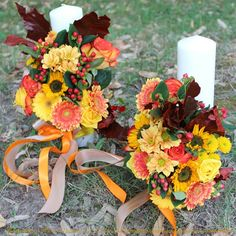Lumanari botez sau nunta Autumn Wedding, Weeding, Wreaths, Table Decorations, Fall, Flowers, Elegance Fashion, Wedding, Fall Season