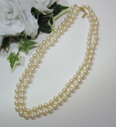 Vtg Marvella 34 inch Faux White Pearls Necklace ~ Fashion Jewelry ~ a Vintage Touch $10.00