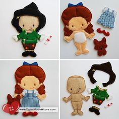 Emerald City Dress Up Set Felt Paper Doll Toys by TaylorMadeWLove