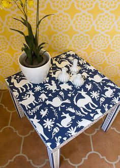 Our Otomi Folk Art Furniture Stencil is inspired by the richly embroidered textiles of the Mexican design of the Otomi people. This playful animal stencil is a great size for stenciling a tabletop, dr