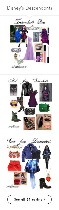 """""""Disney's Descendants"""" by sks12299 ❤ liked on Polyvore featuring Disney, Kate Marie, Christian Dior, Express, Fendi, Dr. Martens, Valentino, Miss KG, Mawi and Neff"""