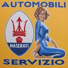 """Maserati Automobili Servizio"" by artist Tony Upson, master of pin ups and classic cars"