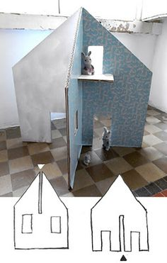 easy diy cardboard dollhouse :: a new take on cardboard playhouse. I wonder if it'd work with plywood or MDF? Cardboard Dollhouse, Cardboard Crafts, Diy Dollhouse, Cardboard Playhouse, Homemade Dollhouse, Cardboard Furniture, Cardboard Houses, Diy Playhouse, Playhouse Furniture