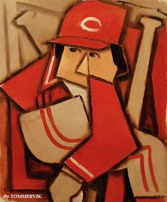 PETE ROSE ABSTRACT CUBISM BASEBALL ORIGNAL PAINTING BY TOMMERVIK