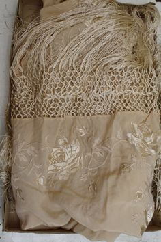 Antique silk French scarf