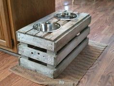 Dog bowl holders. Cute, but I feel Beau would make a mess out of that thing.