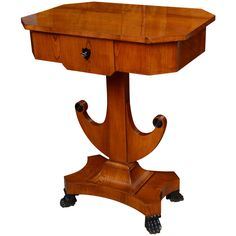 Biedermeier Sewing Work Table, Elmwood, Swedish, 19th Century | From a unique collection of antique and modern end tables at http://www.1stdibs.com/furniture/tables/end-tables/