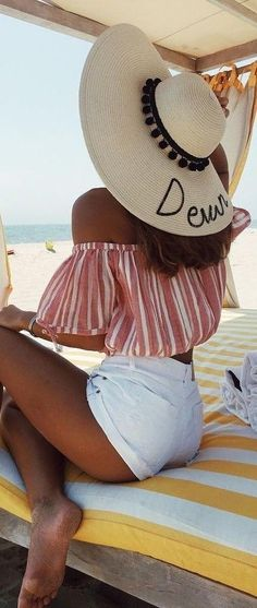 #summer #revolve #clothing #outfits | Stripe Crop + White Shorts
