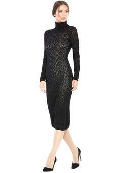 FERGIE T-NECK LACE STITCH DRESS by Alice + Olivia