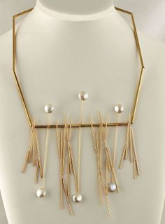 Betty Cooke - Modernist 14K Gold w/Pearls Necklace