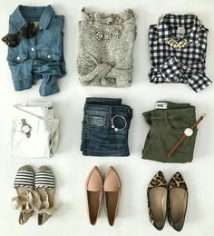 Spring Outfit Inspiration + Weekend Sales - Stylish Petite - Spring outfit ideas – chambray shirt gingham shirt striped espadrilles leopard flats spring outfits Source by stoicbirth - Mode Outfits, Fall Outfits, Summer Outfits, Casual Outfits, Travel Outfits, Outfits With Gray Pants, Olive Pants Outfit, Fashion Outfits, Olive Green Outfit