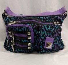 Betseyville Hobo Purse Purple Blue Cheetah Print Silver Tone Hardware #betseyville