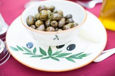 Cured Tuscan table olives grown and produced at McEvoy Ranch. The perfect pre-meal snack.   Photo credit: Mallory Miya