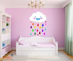 Cute Cloud Raining Rainbow Droplets Wall Decal by ChamberDecals