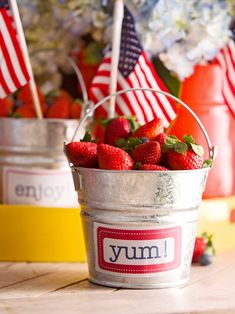 Get your red, white, and blue on at the dinner table this year—even plain buckets can get dressed up for the 4th of July! Use sticker labels or make your own with fun sayings like Yum! or Enjoy! Attach a label to the front of each bucket. #redwhiteandblue #4thofjuly #4thofjulyparty #partyideas #4thofjulydecorations #bhg 4th Of July Games, 4th Of July Party, Fourth Of July, 4th Of July Desserts, 4th Of July Decorations, July Crafts, Better Homes And Gardens, Independence Day, Happy Holidays