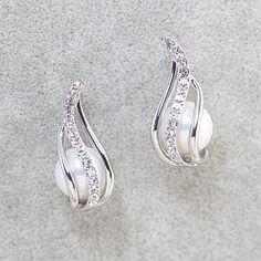 Pair of Exquisite Faux Pearl Embellished Diamante Leaf Pattern Stud Earrings For Women, SILVER in Earrings | DressLily.com