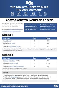 (Click through to download PDF!) This advanced ab workout is designed to increase the size of your abdominal muscles to make them more defined and visible. #workout #gym #fitness #bodybuilding