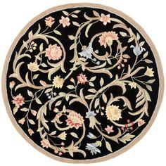 Safavieh Hand-hooked Garden Scrolls Black Wool Rug (5'6 Round) (HK248B-5R)