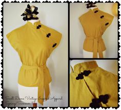 Yellow mustard cotton cheongsam blouse inspired by the orient with short sleeve,matching belt & with chinese frog buttons! All sizes ,many colors!