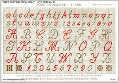 Page 3 of DMC Point de Marque 1ere serie, c. 1890. Found at the antique pattern library. Script alphabet, lower and upper case, numbers.