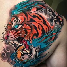 Johnny Domus (@johnny_domus_mesquita) • Instagram photos and videos Japanese Dragon Tattoos, Japanese Tattoo Art, Neo Tattoo, Chest Tattoo, Tiger Tattoo Design, Tattoo Designs, Dope Tattoos, Painting Tattoo, Neo Traditional Tattoo
