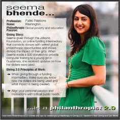 Anyone can be a philanthropist....including our very own Jolkona donor and volunteer who was featured by Giving 2.0 this week! Congrats Seema and thanks for being such an amazing supporter and inspiration!
