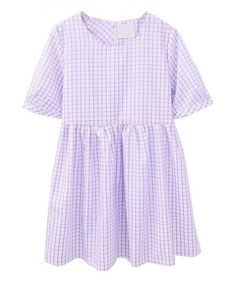 Gingham Checks High Waist Cotton Dress in Purple