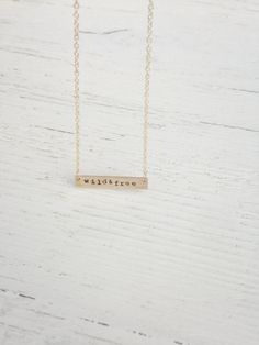 Wild and Free Bar Necklace // gold color / nomad / traveler / pura vida / rectangle / gift / delicate / for her / quit job / new adventure / Gold Bar Necklace, Arrow Necklace, Quitting Job, Bad Bad, Wild And Free, Delicate, Trending Outfits, Unique Jewelry, Handmade Gifts