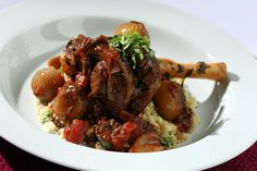 UK SHALLOTS   Tunisian Braised Lamb Shanks with Shallots, Mint and Harissa Sauce