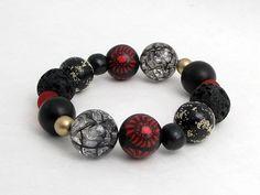 bracelet fimo, polymer clay, Handgefertigtes Armband aus einzigartigen schwarz von polymerdesign