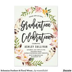 Bohemian Feathers & Watercolor Floral Wreath Graduation Party Invitations