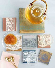 DIY lace coasters via apartment therapy