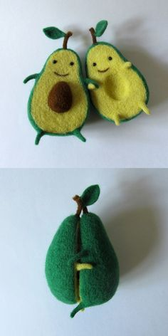 Avocado Love by Wool Sculpture  http://www.thisiscolossal.com/2015/05/avocado-love-by-wool-sculpture/ Soft Dolls, Toy Craft, Felt Patterns, Sewing Patterns, Needle Felting, Felt Food, Love Design, Food Crafts, Cool Toys