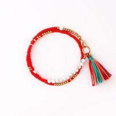 Boho Beaded Wrap Bracelet amicizia con nappa