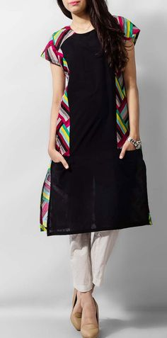 Black Ladies Cotton Kurti by PakRobe.com